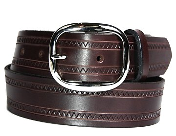Zig Zag Belt-Silver Oval Buckle-Chocolate Brown