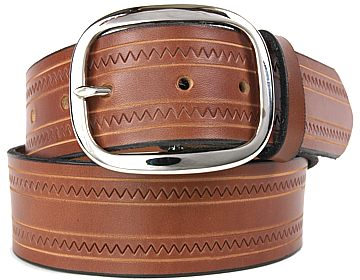 Zig Zag Belt-Silver Oval Buckle-Canyon Brown