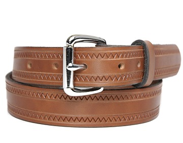 Zig Zag Belt-Silver Roller Buckle-Canyon Brown