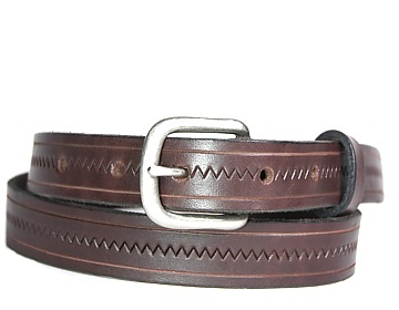 Zig Zag Belt-Ant. Silver End Bar-Chocolate Brown