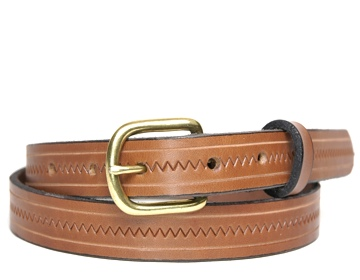 Zig Zag Belt-Ant. Brass End Bar-Canyon Brown