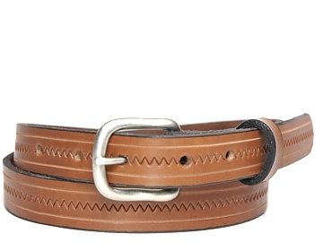 Zig Zag Belt-Ant. Silver End Bar-Canyon Brown