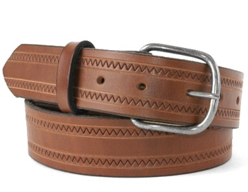 ZigZag Belt-Ant. Silver End Bar-Canyon Brown