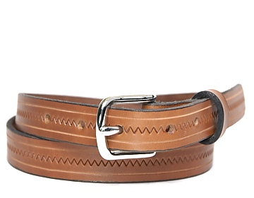 Zig Zag Belt-Silver End Bar-Canyon Brown