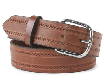 Zig Zag Belt-Silver End Bar Buckle-Canyon Brown
