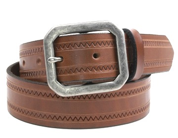 Zig Zag Belt-Ant.Silv.Clip Corner-Canyon Brown
