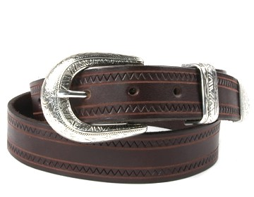 Zig Zag Belt-SW Floral Buckle-Chocolate Brown