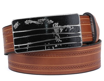 Zig Zag Belt-Black Lined Buckle-Canyon Brown