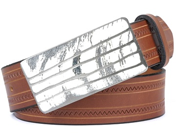 Zig Zag Belt-White Lined Buckle-Canyon Brown