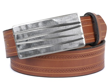 Zig Zag Belt-Raw Lined Buckle-Canyon Brown