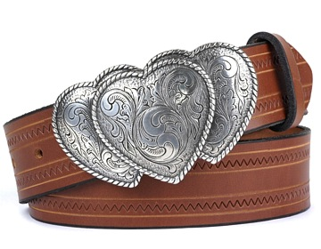Zig Zag Belt-3 Western Hearts-Canyon Brown