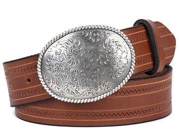 Zig Zag Belt-Clarksdale Buckle-Canyon Brown