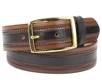 MBK17-Brass Rectangle Buckle-Black & Brown