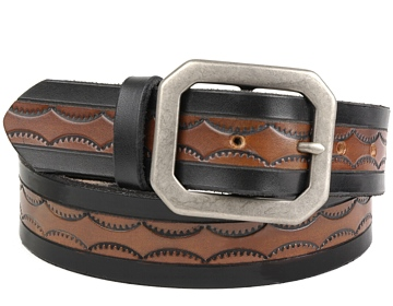 MBK13 Belt-Ant Silver Clipped Corne-Black & Brown