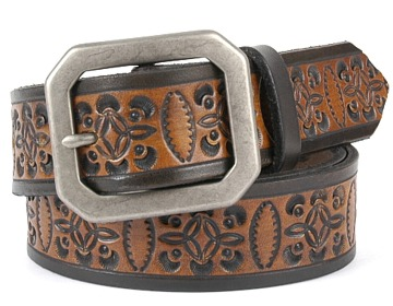 MBK6 Belt-Ant. Silver Clipped Corne-Black & Brown