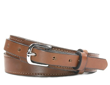 Western Belt-Silver End Bar Buckle-Canyon Brown