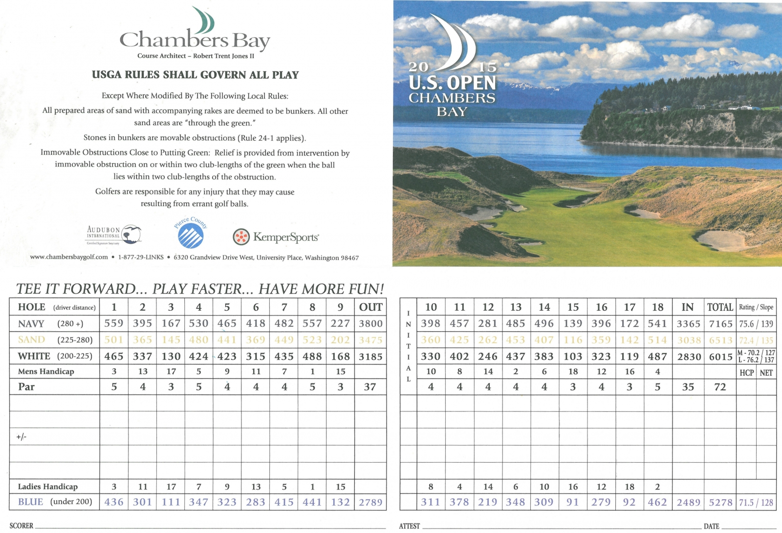 Us Open Golf 2015 Map Chambers Bay Golf Course   Hole By Hole & Scorecard