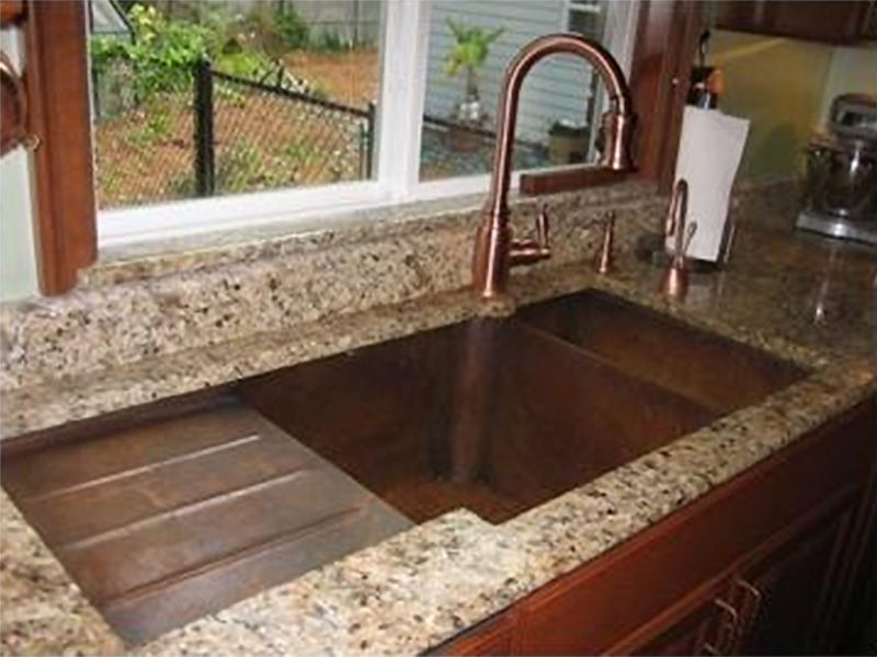 custom copper sink with drying rack