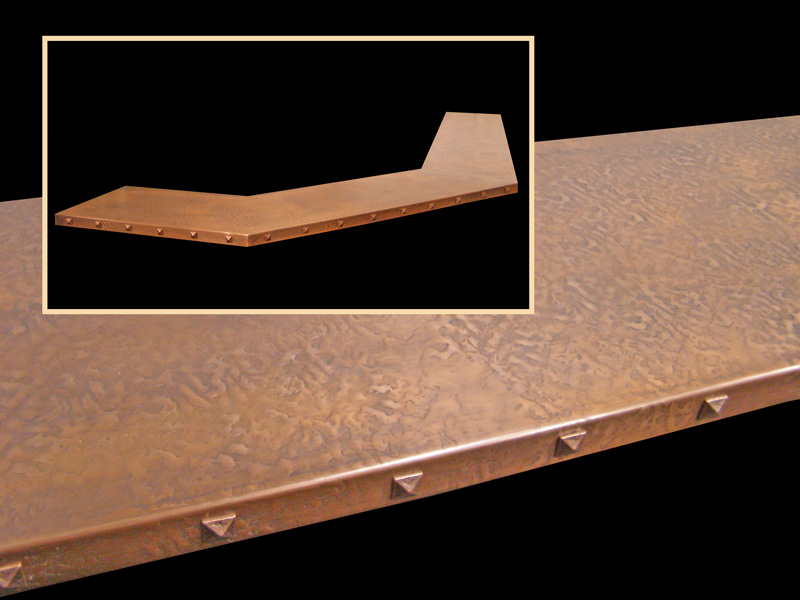Copper Bar Top W/ Clavos Added To Edge.