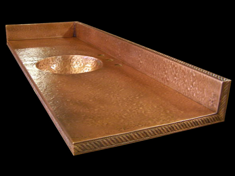 Hand Hammered Spun Sink Copper Vanity Top
