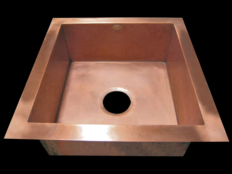 Smooth Copper Square Undermount Bar Sink