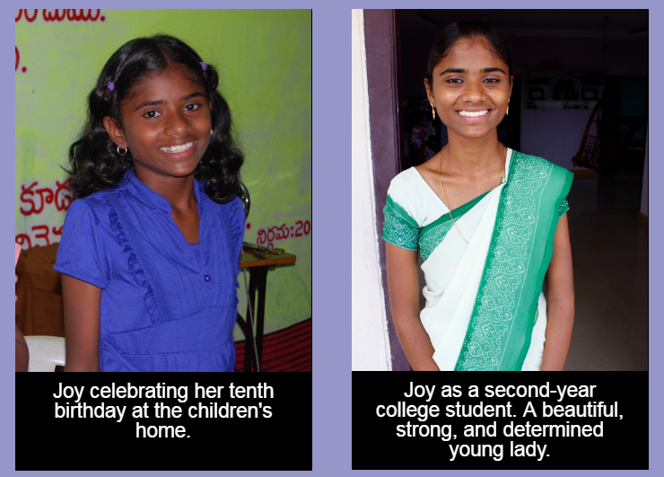 Joy at her tenth birthday and as a second-year college student