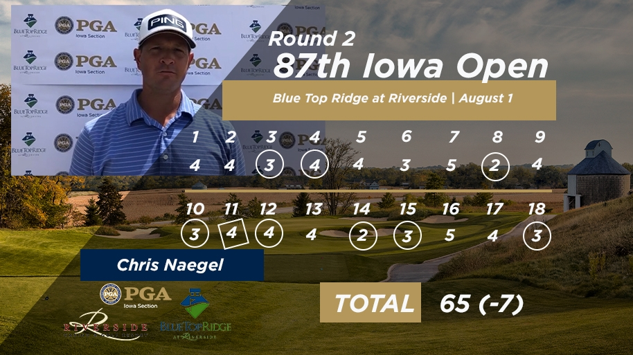 Naegel Leads Round Two of the 87th Iowa Open