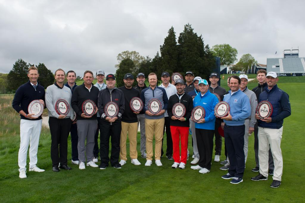 FARMINGDALE, NY - May 14: The 20 PGA Club Professionals gather for a photo which includes, starting from (L-R); Tyler Hall, Brian Mackey, Alex Beach,  Rod Perry, Ben Cook, Craig Bowden, Casey Russell, Rob Labritz, Ryan Vermeer, Andrew Filbert, Cory Schnei