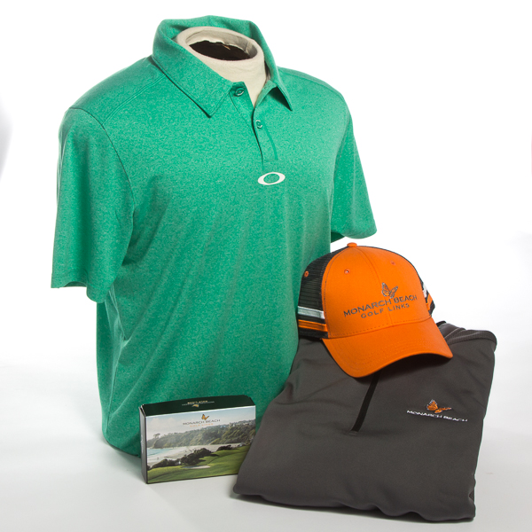 Gift Basket: Golf Polo, Pullover, Golf Hat & 6 Pack of Logoed Golf Balls