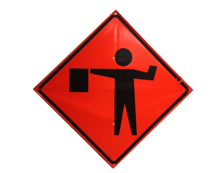 Flagger Ahead Symbol Safety Equipment Construction Sign Rental