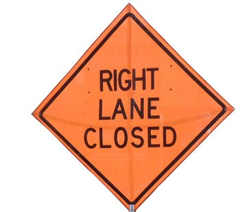 RIGHT LANE CLOSED SIGN