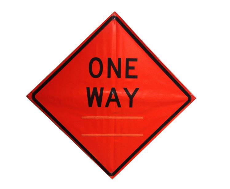 ONE WAY SIGN WITH VELCRO ARROW