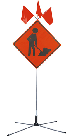 CONSTRUCTION SIGN WITH TRIPOD