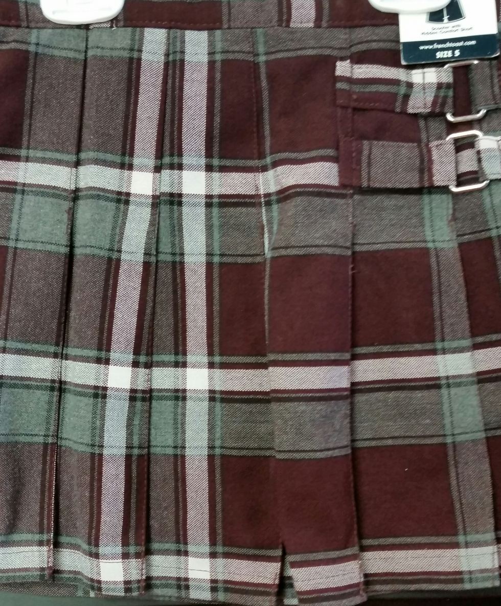 Burgundy and Grey Plaid Scooter