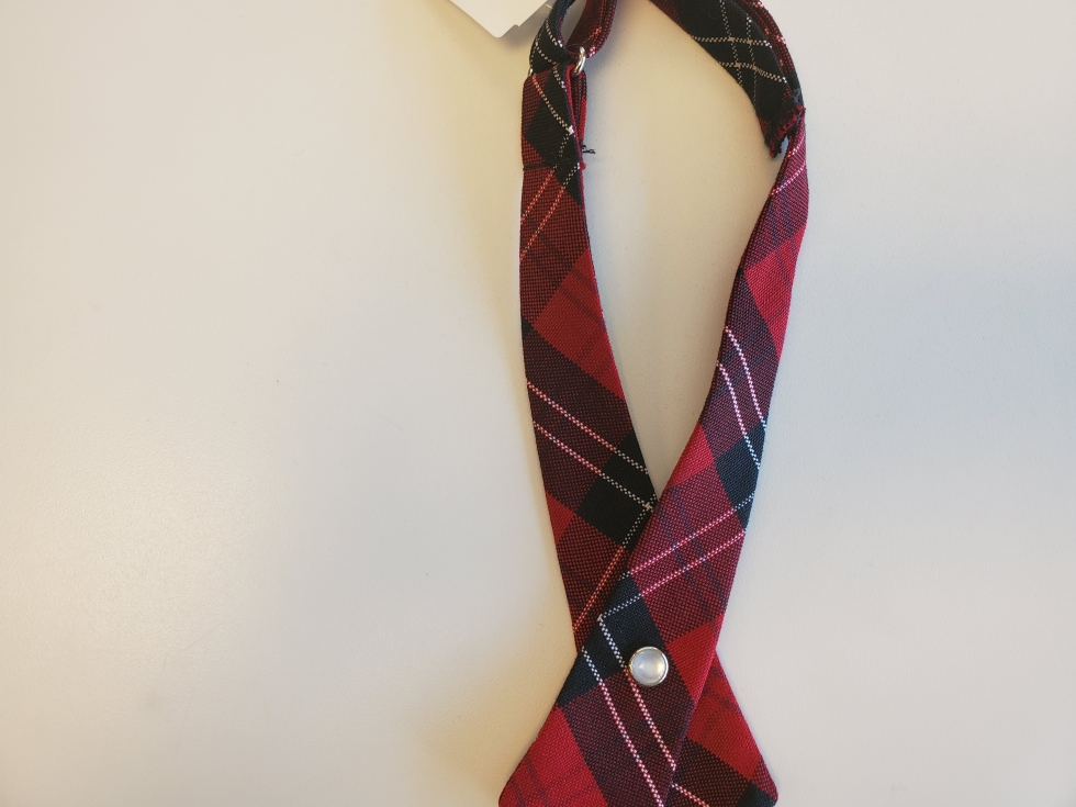 Plaid #70 (Black & Red) Cross Tie For Girls