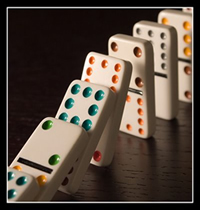 Use dominoes to teach the power of word spacing
