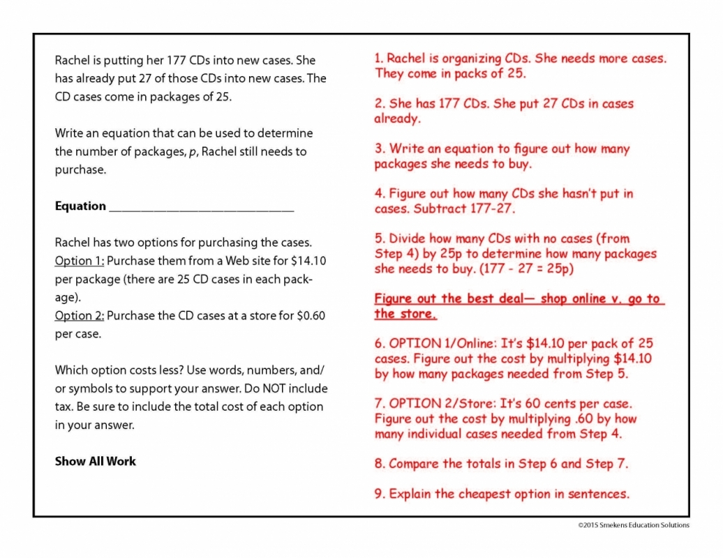 Math Story Problem with Written Explanation