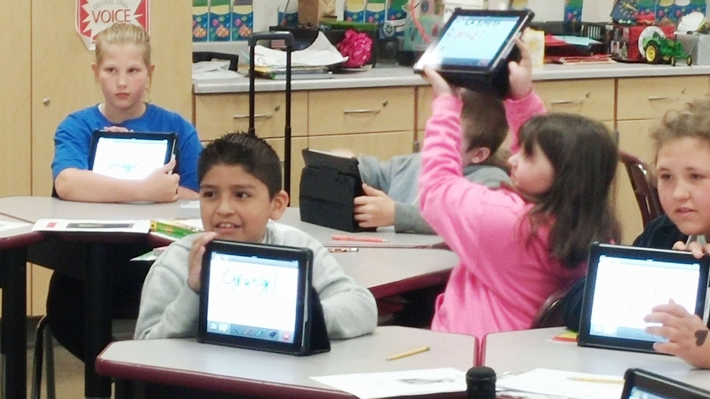 Classroom participating with technology