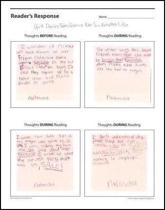 Reader's Response Handout for Assessing Reader Thinking