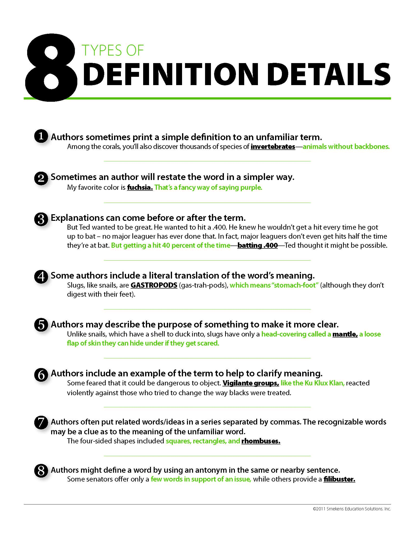 8 Definition Details to include in writing