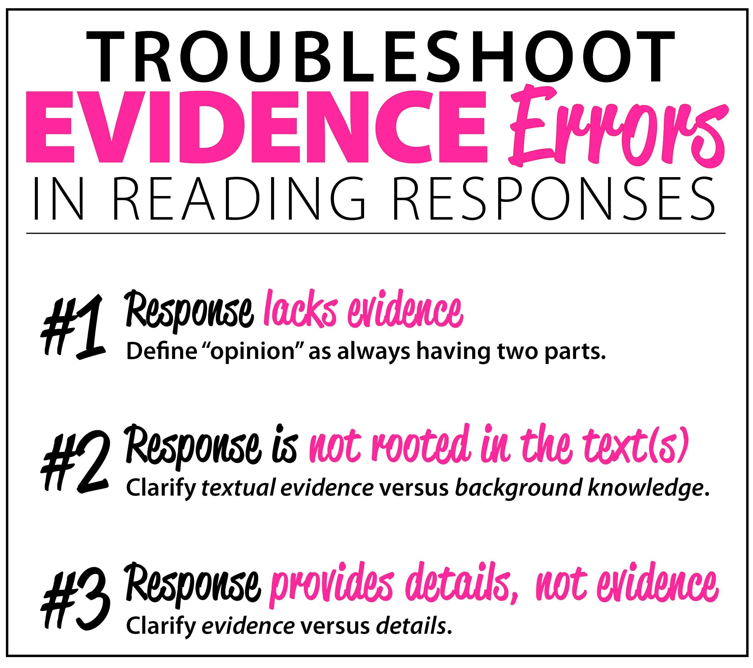Troubleshoot Evidence Errors in Reading Responses for Standardized Tests
