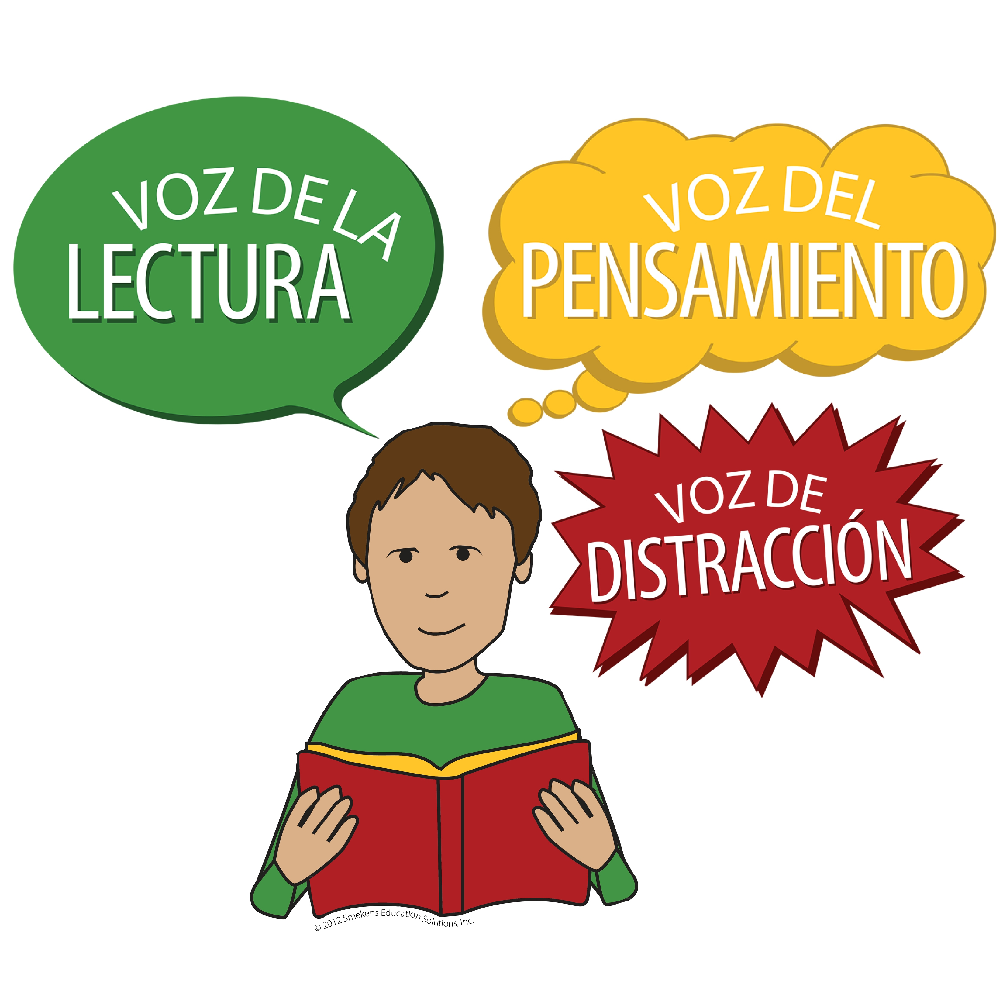 Reading Voice, Thinking Voice, Distracting Voice - Icons with Words - Version 1 - Spanish