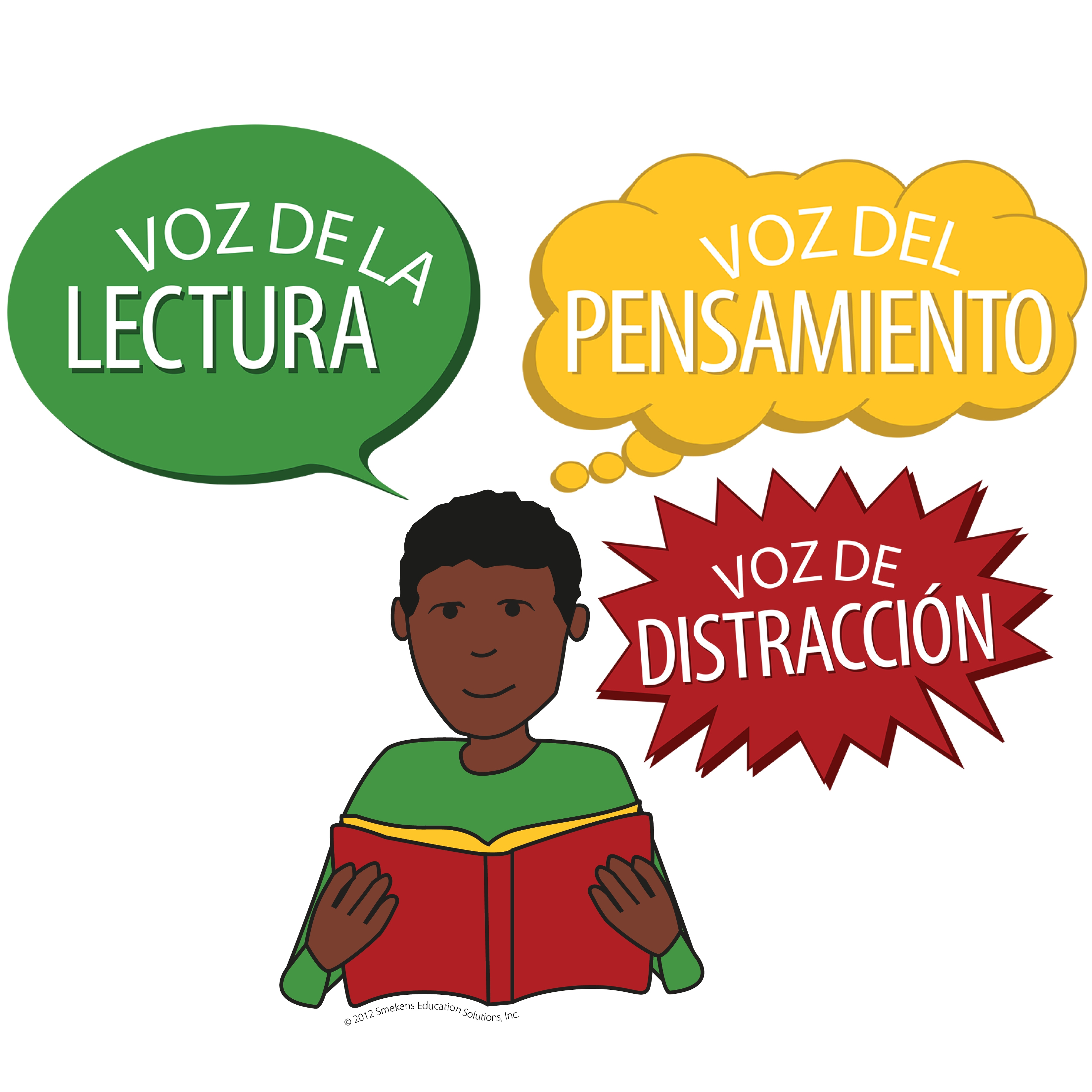 Reading Voice, Thinking Voice, Distracting Voice - Icons with Words - Version 2 - Spanish