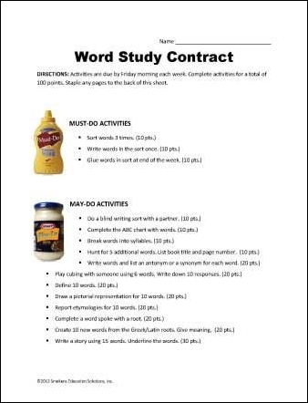 Word Study Contract Template