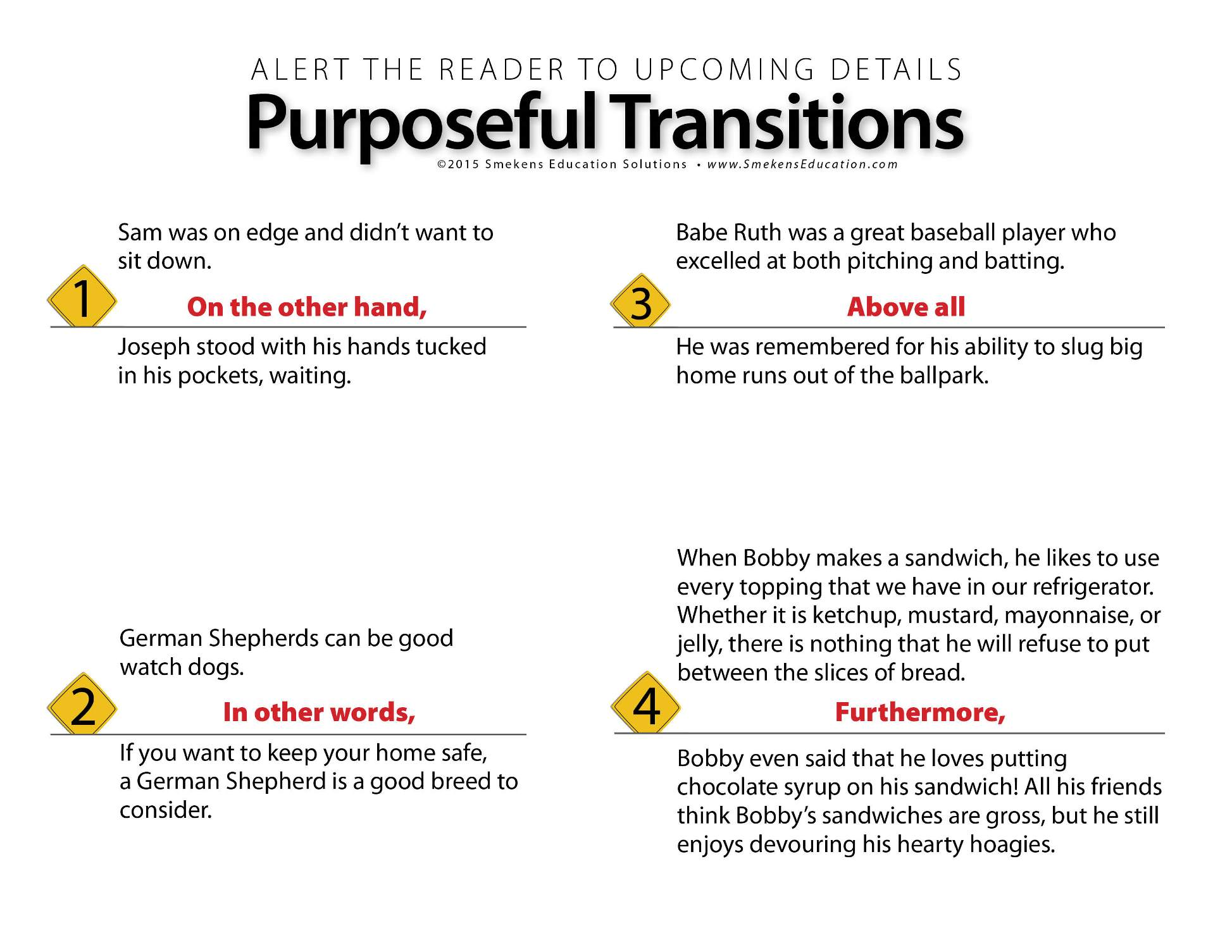 Purposeful Transitions Practice Handout