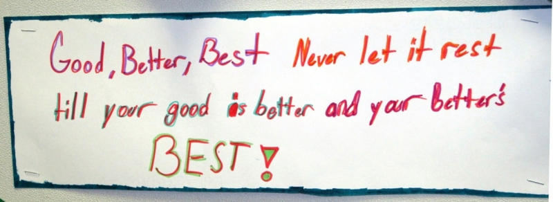 Test-Prep Bumper Sticker: Good, Better, Best