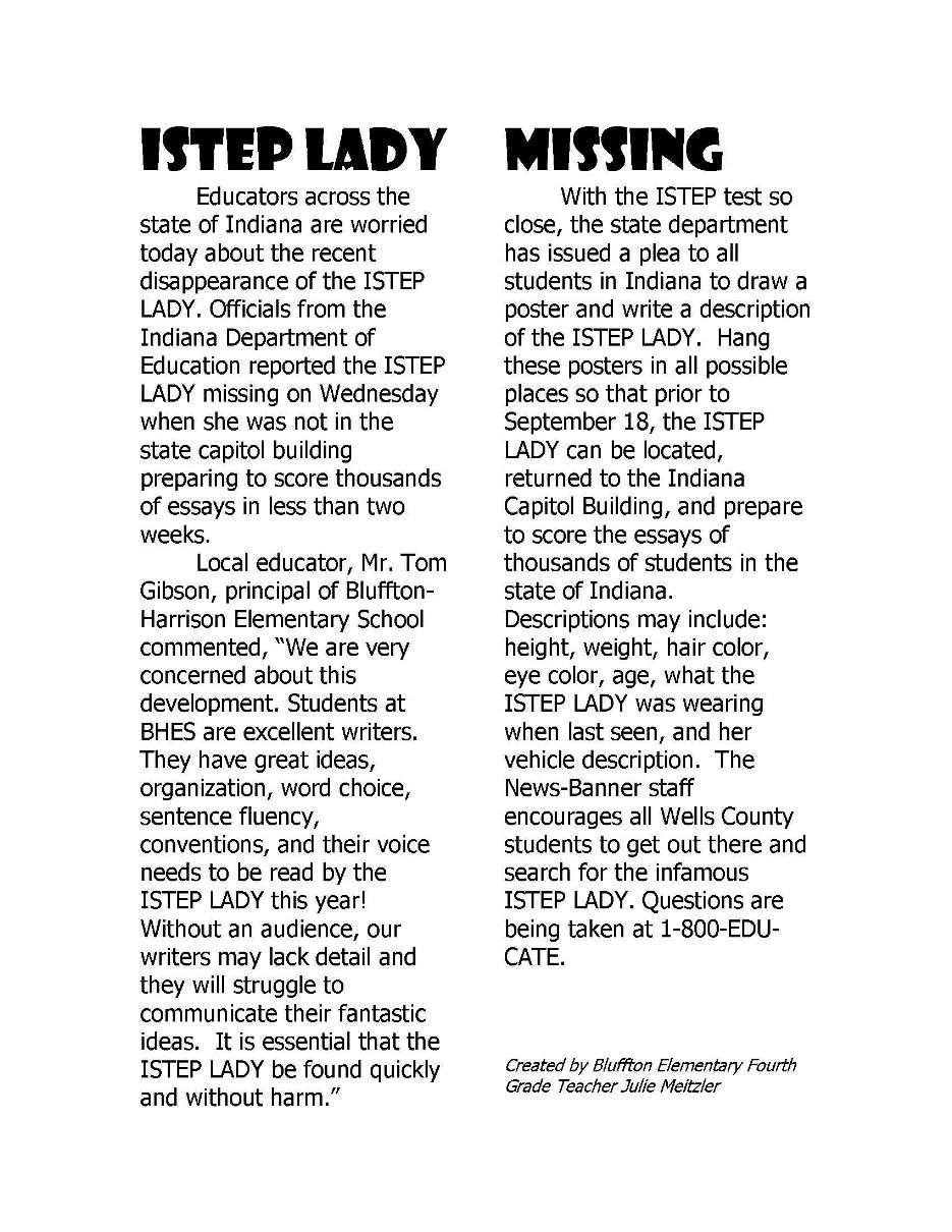 News Article ISTEP Lady