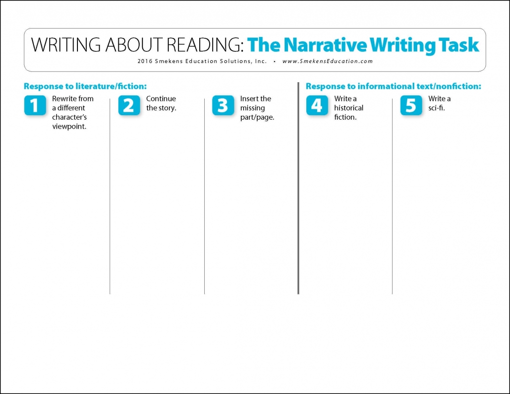 Writing About Reading The Narrative Writing Task
