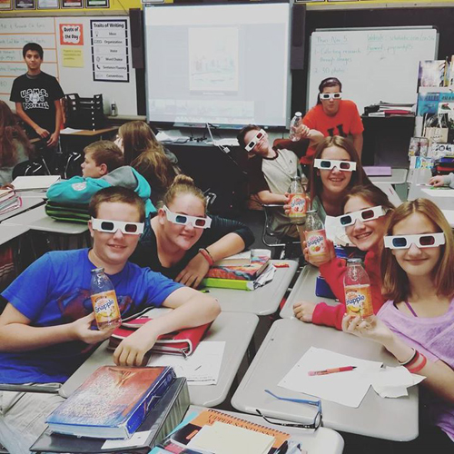 Erica Shadley - Students with 3D glasses and Snapple Facts sheet