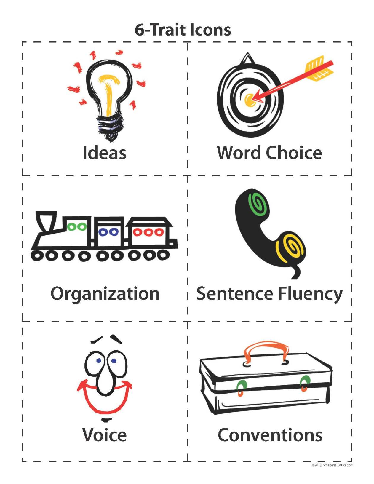 6 Traits Icons for Writing Rubrics